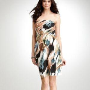 Ann Taylor Strapless Jade Brushstroke Dress